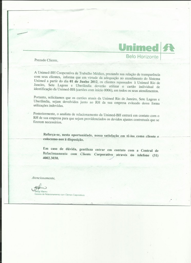 COMUNICADO UNIMED-BH